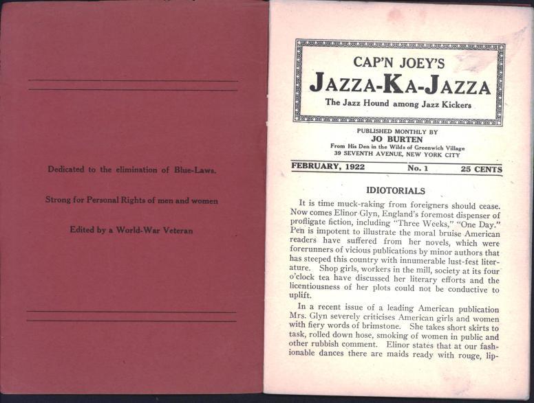Cap'n Joey's Jazza-Ka-Jazza 1922 02 no 1 pp 0-1