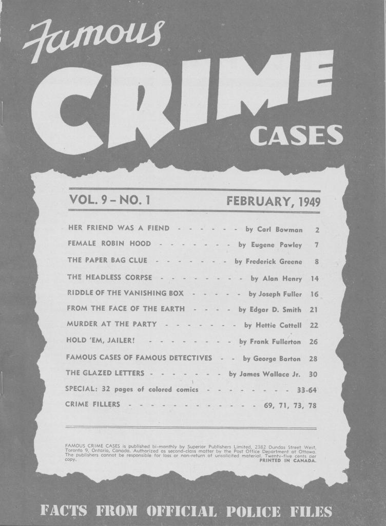 Famous Crime Cases 1949 February toc