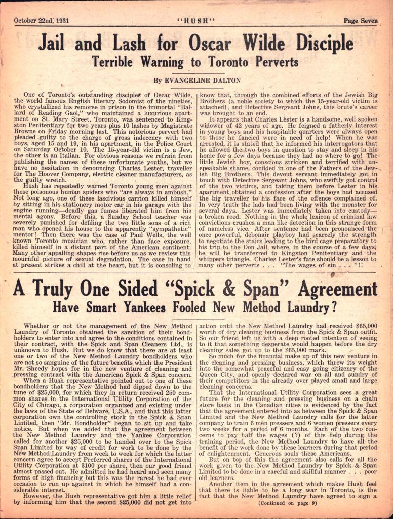 Hush 1931 10 22 Oscar Wilde Disciple