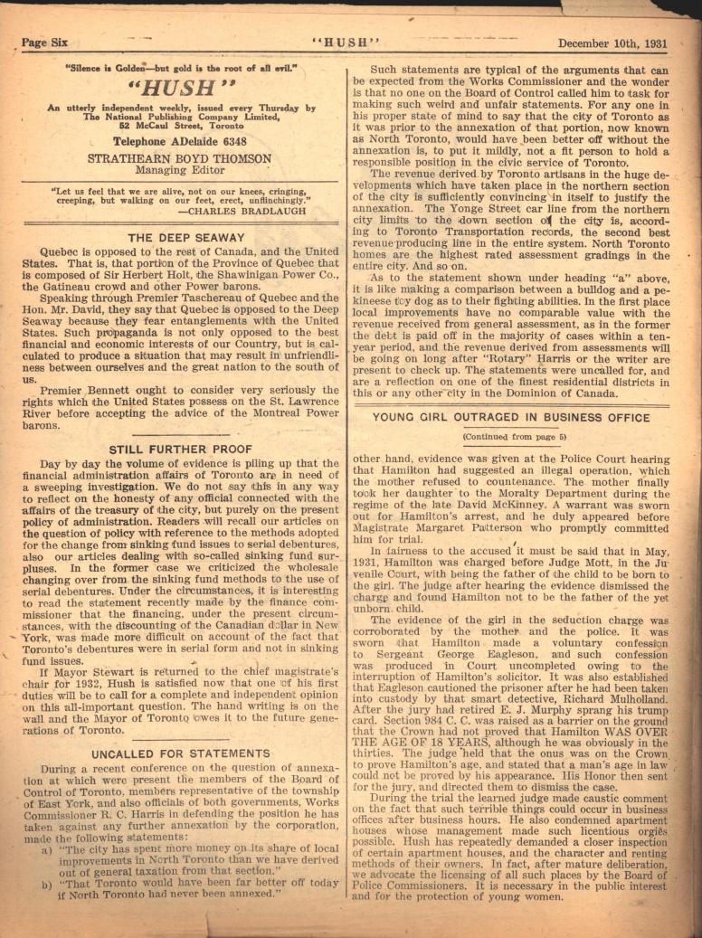 Hush 1931 12 10 colophon