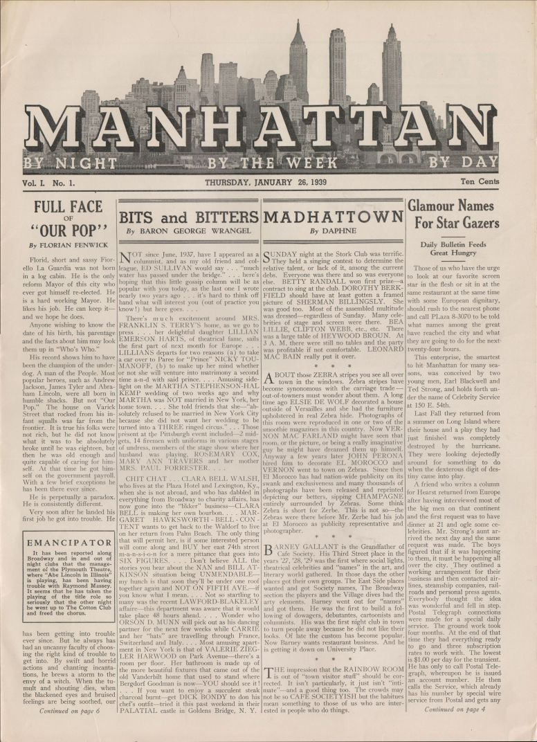 Manhattan vol 1 no 1 January 28 1939