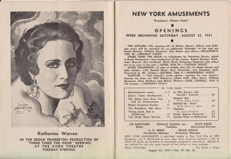 New York Amusements vol 10 no 35 22 August 1931 Lee Mortimer ed pp 2-3