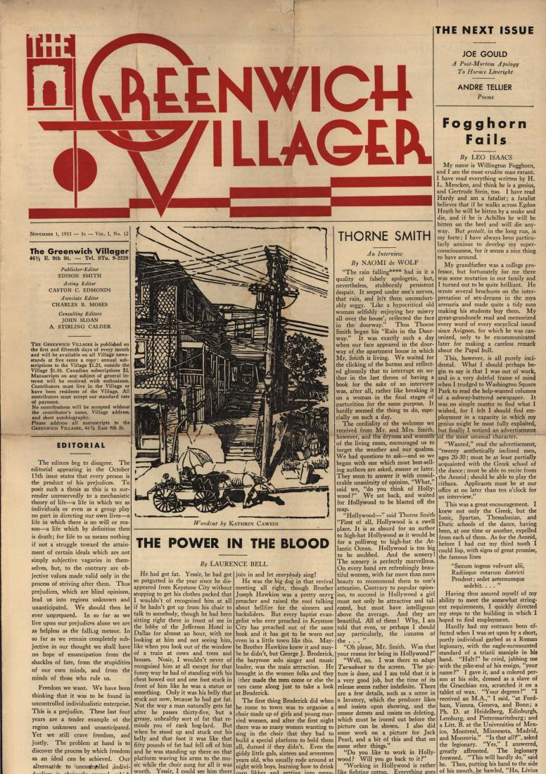 The Greenwich Villager November 1, 1933