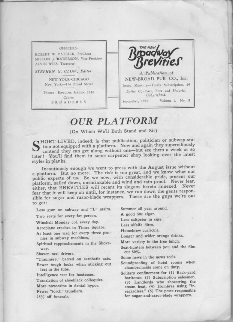 New Broadway Brevities 1930 09 vol I no II