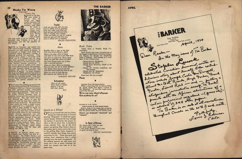 The Barker vol 1 no 1 pp 30-31